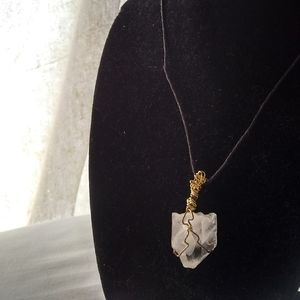 Wire wrapped medium Crystal hemp cord necklace